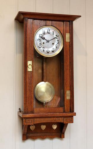 Oak Arts & Crafts Striking Wall Clock (1 of 7)