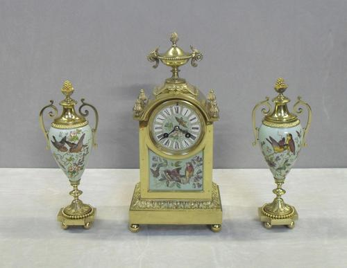 French Belle Epoque Brass and Porcelain Clock Set (1 of 17)