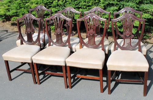 1900's Quality Set of 8 Mahogany Wheatcheaf Chairs - 7 + 1 Carver - Pop-out Seats (1 of 3)