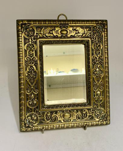 Victorian Brass Wall Mirror with Bevelled Glass c.1875 (1 of 4)