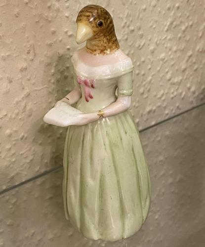 Rare Royal Worcester Porcelain CANDLE-SNUFFER – 'Jenny Lind' (Diffidence) in green, 1892 (1 of 4)