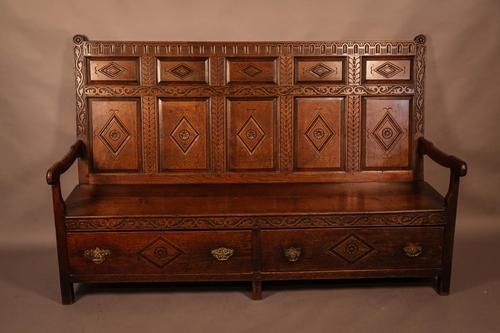 Georgian Oak Settle with Storage Drawers (1 of 10)