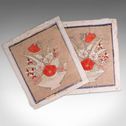 Pair of Antique Decorative Panels, Chinese, Embroidered Silk, Victorian c.1880 (1 of 9)
