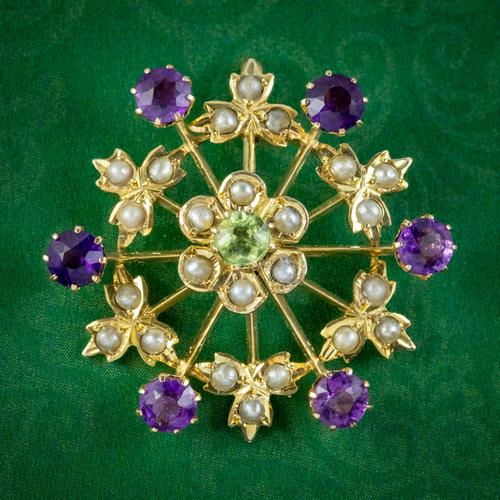 Antique Suffragette Floral Pendant 9ct Gold Amethyst Peridot Pearl c.1910 (1 of 6)
