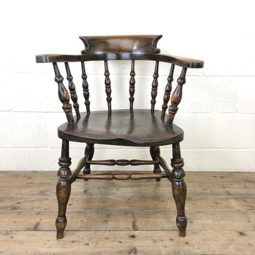 Antique Beech & Elm Smoker's Bow Armchair (1 of 9)