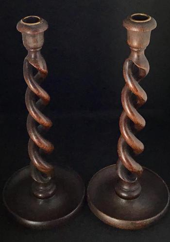 Pair of Victorian Oak Open Twist Candlesticks (1 of 3)