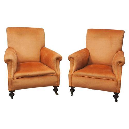 Pair of Victorian Mahogany & Peach Velvet Easy Chairs (1 of 15)