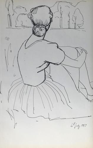 Original Pen & Ink Drawing 'Contemplation' by Toby Horne Shepherd - Dated 1957 (1 of 1)
