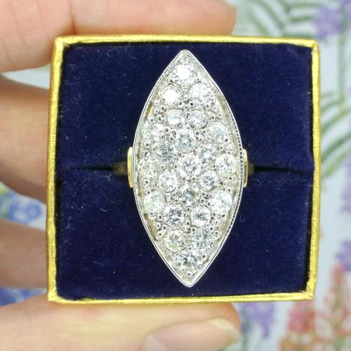 Stunning Vintage 18ct Gold Marquise Diamond Cluster Ring 1.65ct ~ With Independent Appraisal / Valuation (1 of 10)