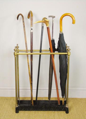 Late Victorian Brass & Cast Iron Stick Stand (1 of 6)