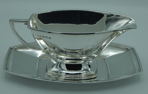 Sterling Silver Art Deco Gravy  Sauce Boat & Tray (1 of 10)