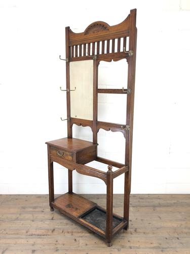 Antique Oak Arts & Crafts Mirrored Hall Stand (1 of 11)