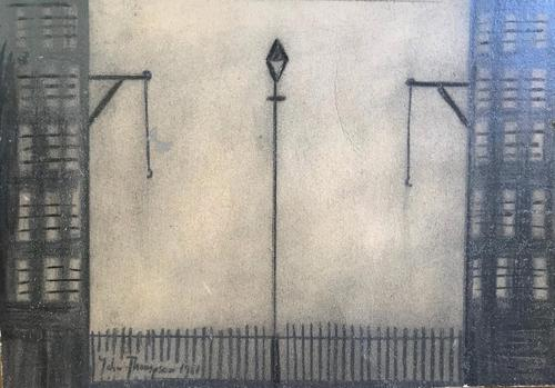 Original Mixed Media Drawing 'industrial Street' by John Thompson Signed & Dated 1981 - Framed (1 of 3)