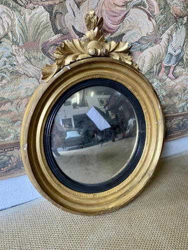 Gilt Convex Wall Mirror with Decoration (1 of 4)