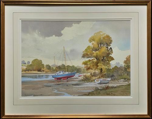 Superb Quality 20th Century Vintage Boats Estuary Seascape Watercolour Painting (1 of 11)