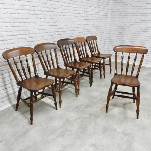 Set of 6 Antique Spindleback Kitchen / Dining Chairs (1 of 8)
