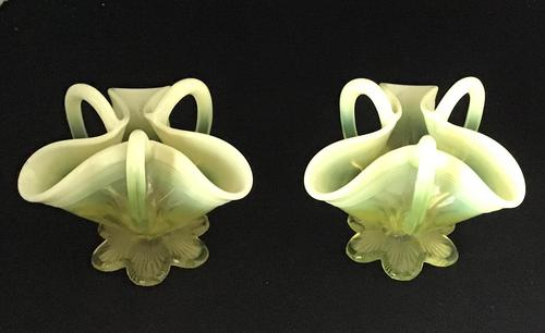Pair of Victorian Vaseline Glass Posy Vases (1 of 4)
