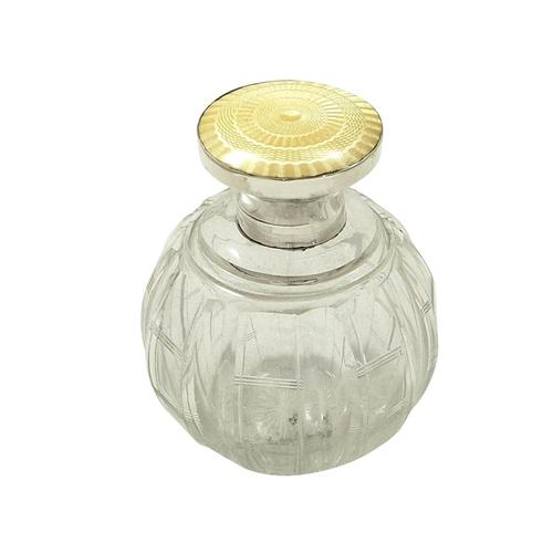 Antique Sterling Silver & Yellow Enamel Perfume / Scent Bottle 1922 (1 of 8)
