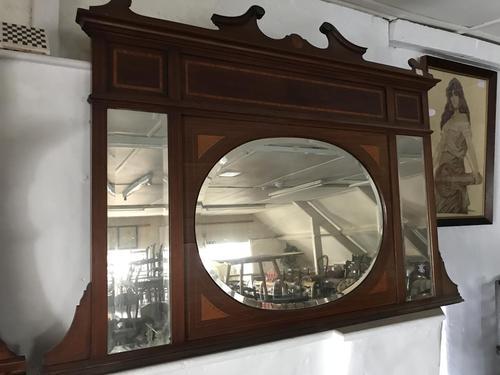 Edwardian Mahogany Inlaid Overmantle Mirror (1 of 6)