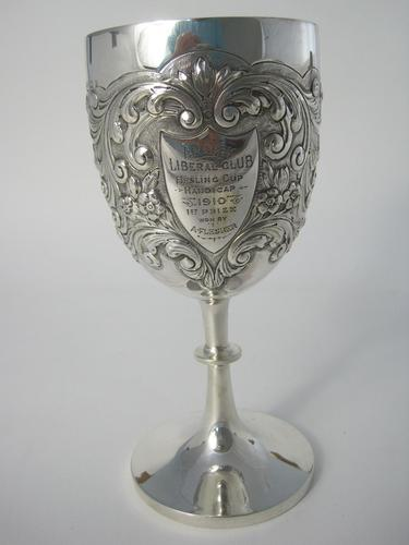 Edwardian Silver Goblet with Knobbed Stem & Plain Splayed Circular Foot (1 of 6)