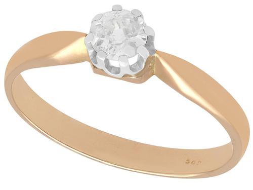 0.32ct Diamond & 14ct Rose Gold Solitaire Ring - Antique c.1910 (1 of 9)