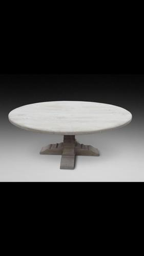 Impressive 6ft diameter sand blasted oak dining table (1 of 4)
