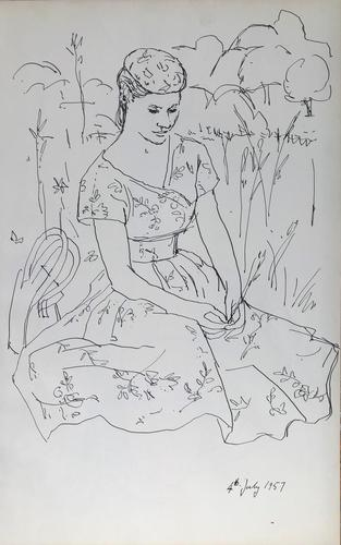 Original Pen an Ink Drawing 'The Summer Dress' by Toby Horne Shepherd - Dated 1957 (1 of 1)