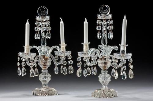 Pair of Late Regency Cut Glass Candelabra (1 of 6)