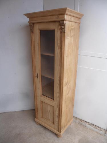Quality Antique Pine 1 Door Display Cabinet / Cupboard to wax / paint (1 of 10)