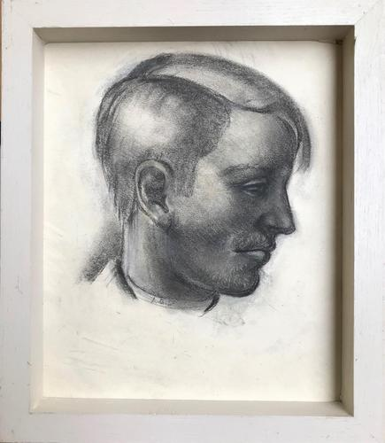Original Black & White Chalk Drawing 'Young Man in Profile' by Hector MacDonald Sutton - Framed (1 of 2)