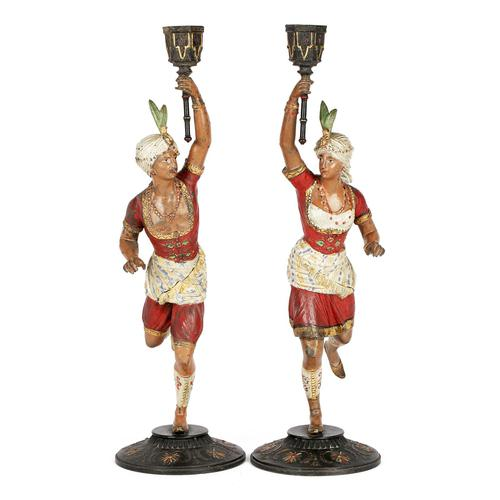 Pair of Continental, Probably French, Cold Painted Metal Figural Candlesticks (1 of 27)