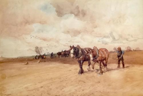 John Atkinson Watercolour 'Ploughing the Furrows' (1 of 2)