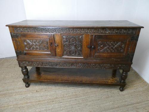 19th Century Carved Oak Cupboard / Dresser (1 of 16)