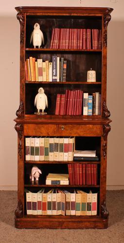 Open Bookcase in Burl Walnut - 19th Century (1 of 13)