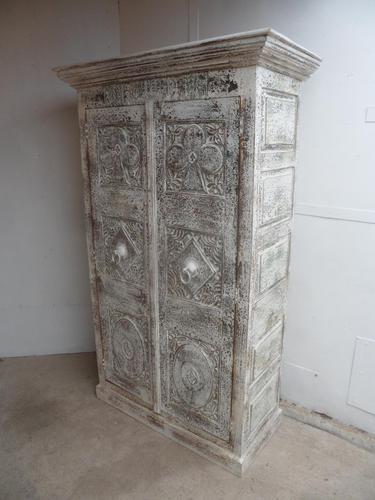 Handmade Indian Mango & Teak Large Painted White & Green 2 Door Storage Cupboard (1 of 7)