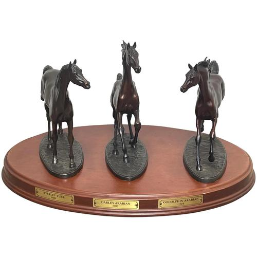 """Set 3 Small Solid Bronze Horse Racing """"The Origins of Champions"""" by Gill Parker (1 of 45)"""