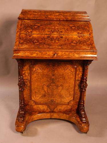 "Superb Victorian Burr Walnut ""Jack in a Box"" Davenport (1 of 16)"