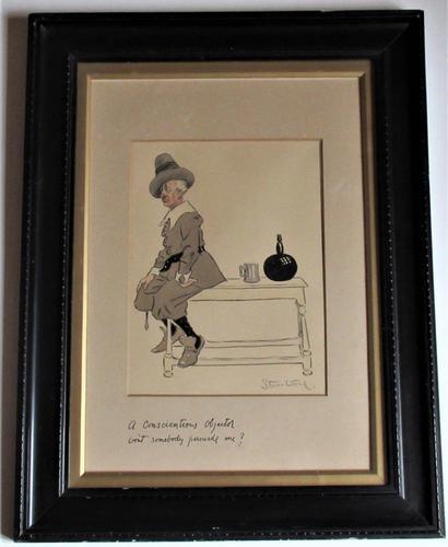 Starr Wood, Original Charcoal & Wash Cartoon, World War 1, Signed, Framed c.1914 (1 of 7)