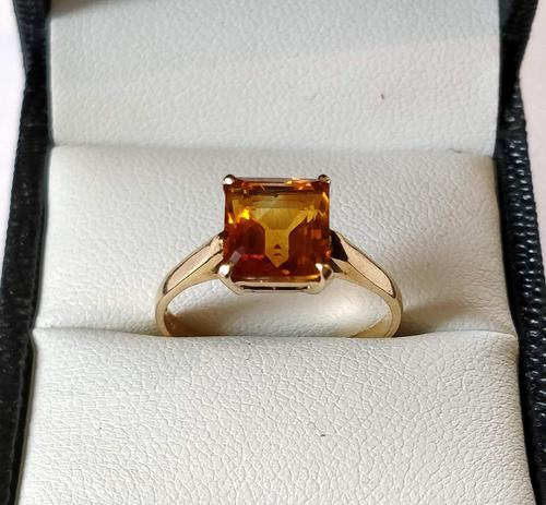 Vintage 9ct Gold Citrine Solitaire Ring Size Q (1 of 8)