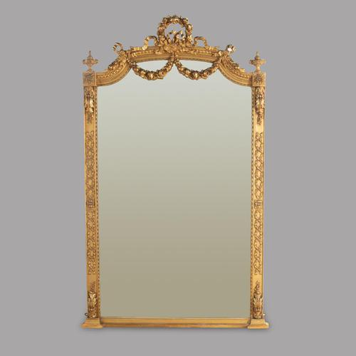 19th Century French Gilt Gesso Tall Mirror with Ornate Decorative Applique (1 of 3)