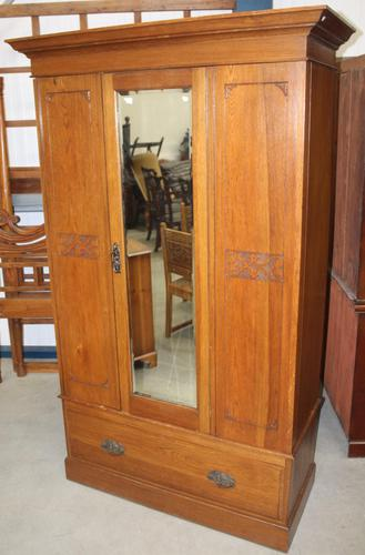 1940's Mirrored 1 Door Oak Wardrobe With Large Drawer. (1 of 5)