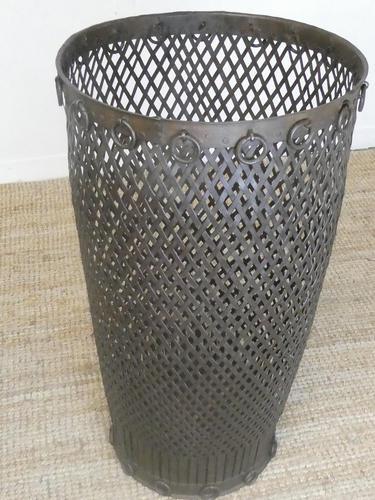 Tall Iron Lattice Waste Paper Basket (1 of 6)