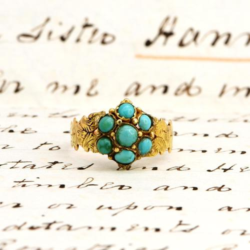 The Antique Victorian 1868 Seven Turquoise Ring (1 of 6)