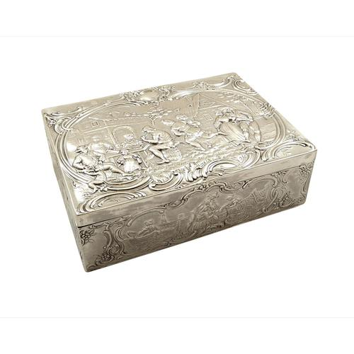 Antique Sterling Silver Trinket Box with Tavern & Fishing Scenes 1909 (1 of 11)
