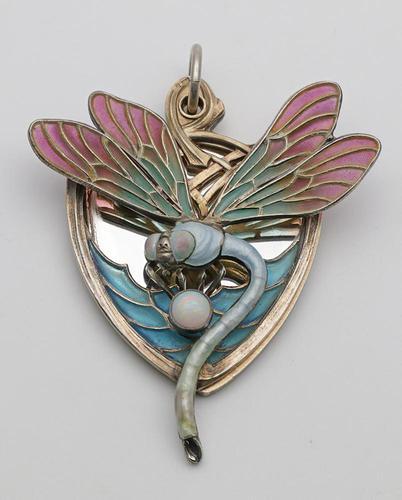 Meyle & Mayer Jugendstil Silver Dragonfly Pendant Locket, Very Rare (1 of 6)