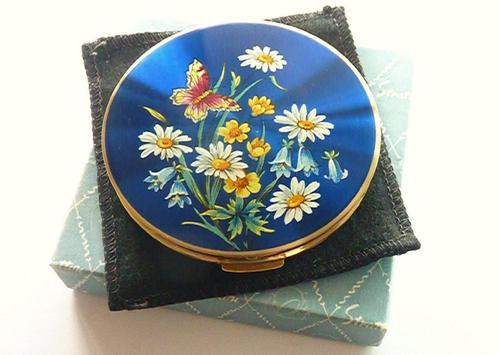 1950s Blue Enamel Stratton Compact Mirror with Butterfly Unused (1 of 8)