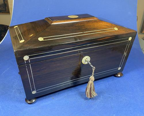 William IV Rosewood Tea Caddy with Mother of Pearl & Pewter Inlay (1 of 8)
