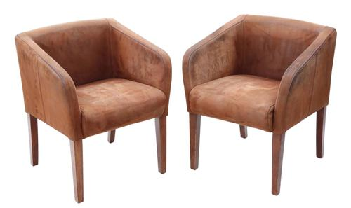 Pair of Brown Suede Leather Club Style Dining or Armchairs Chairs (1 of 5)