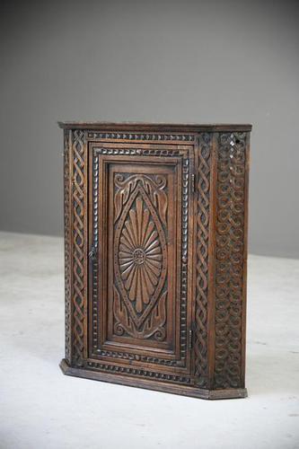 Antique Carved Oak Corner Cabinet (1 of 12)