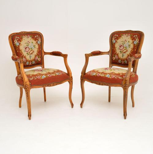 Pair of Antique French Tapestry Salon Armchairs (1 of 10)